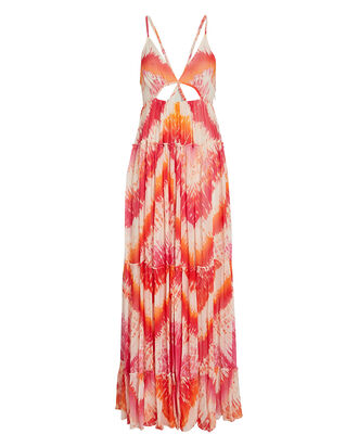 Tie-Dye Chiffon Maxi Dress, PINK/ORANGE, hi-res