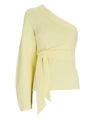 Cleto One-Shoulder Terry Sweater, LIGHT YELLOW, hi-res