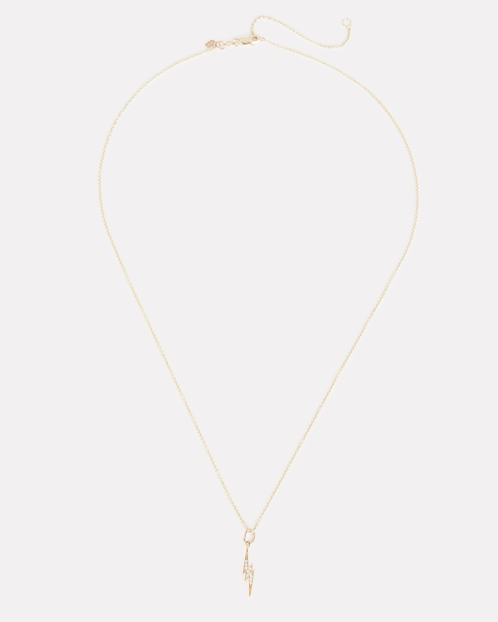 Small Lightening Bolt Charm Necklace, GOLD, hi-res