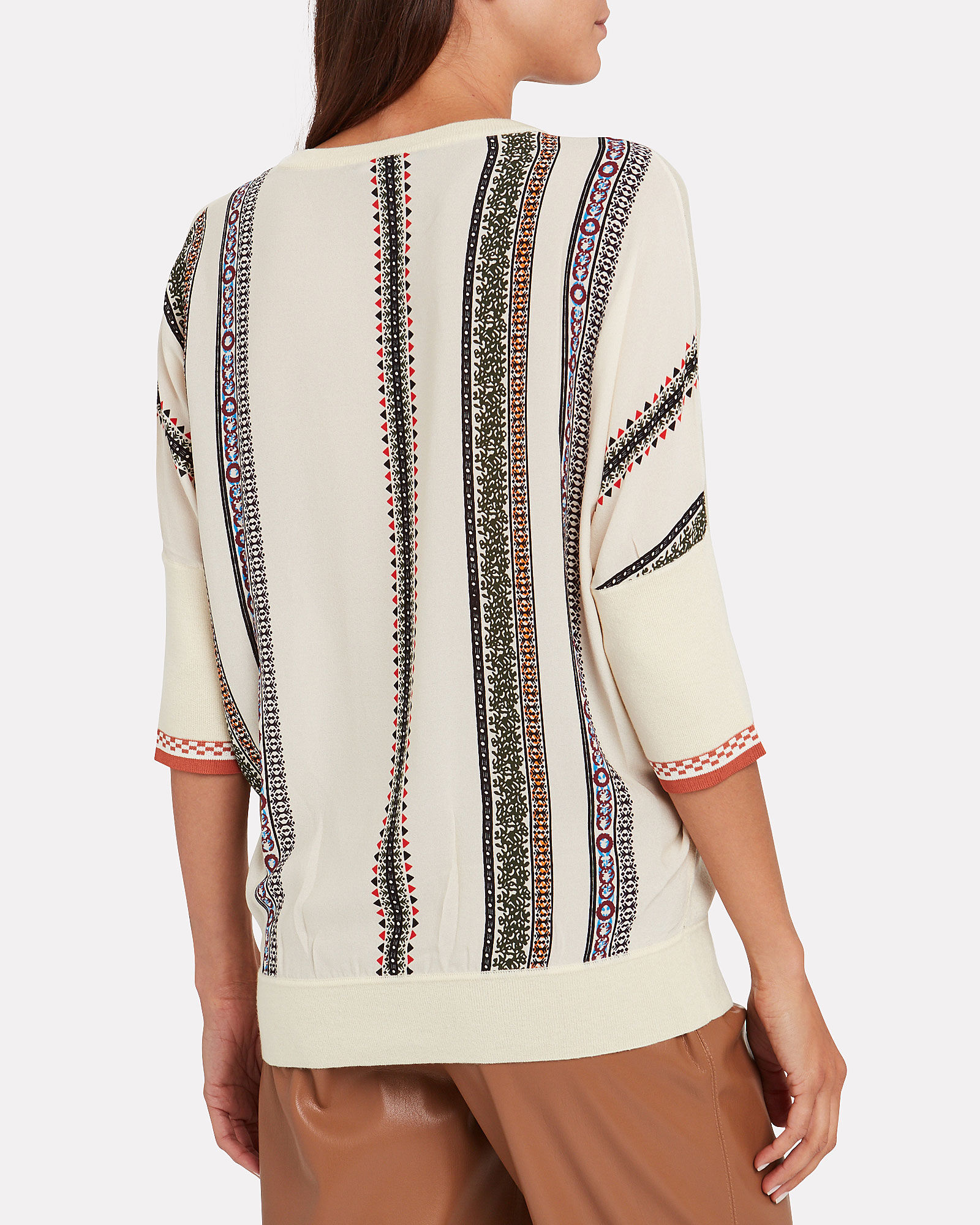 Cashmere Printed Silk Back Sweater, IVORY, hi-res