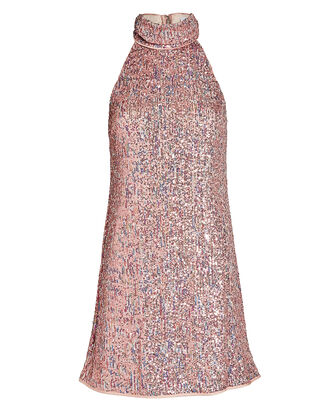 Aftyn High Neck Sequin Mini Dress, ROSE, hi-res