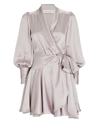 Silk Mini Wrap Dress, LIGHT PURPLE, hi-res