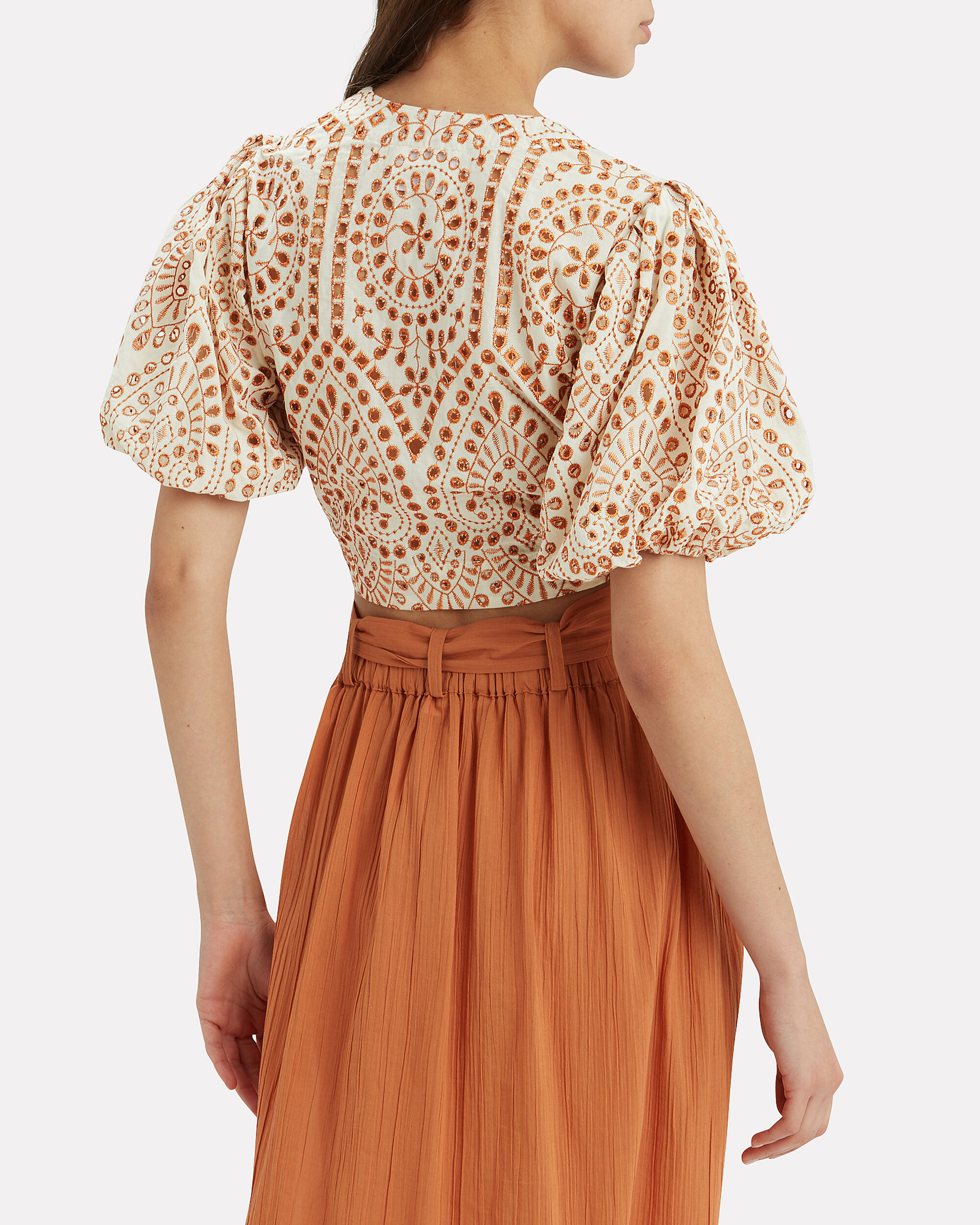 Pouf Eyelet Tie Blouse, WHITE/BROWN, hi-res