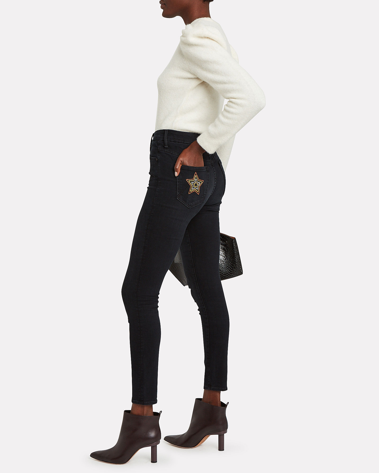 The High-Waist Looker Skinny Jeans, BLACK, hi-res