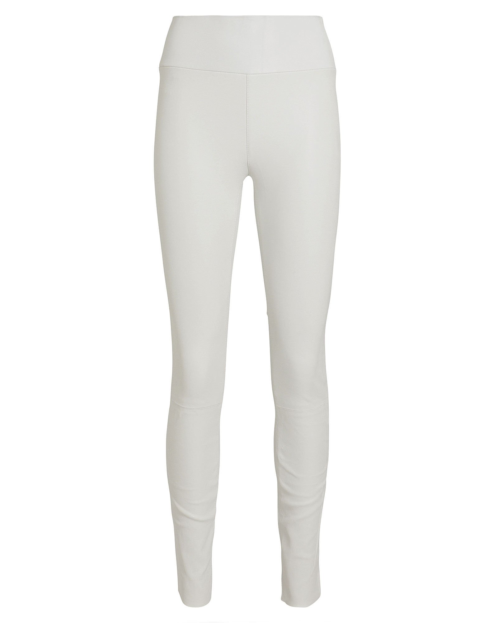 High-Rise Leather Leggings, WHITE, hi-res