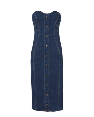 Liza Strapless Denim Midi Dress, BLUE-DRK, hi-res