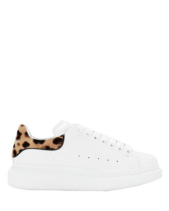 Oversized Leather Leopard-Trimmed Sneakers, WHITE/LEOPARD, hi-res