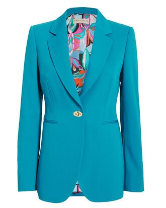 Turnlock Detail Blue Blazer, TEAL BLUE, hi-res