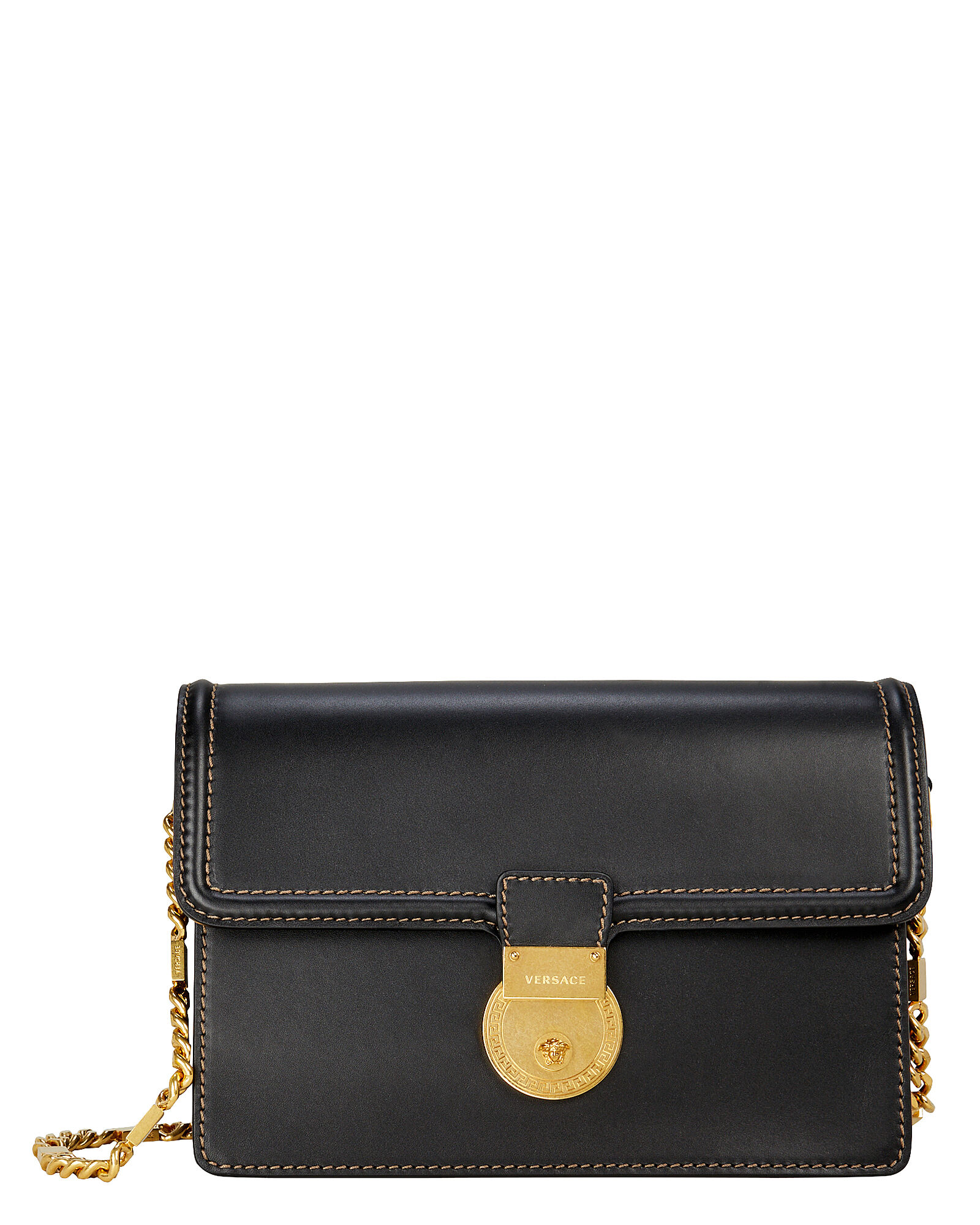 Chain Strap Leather Crossbody, BLACK, hi-res