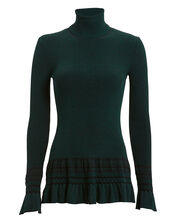 Ruffled Rib Knit Turtleneck, GREEN, hi-res