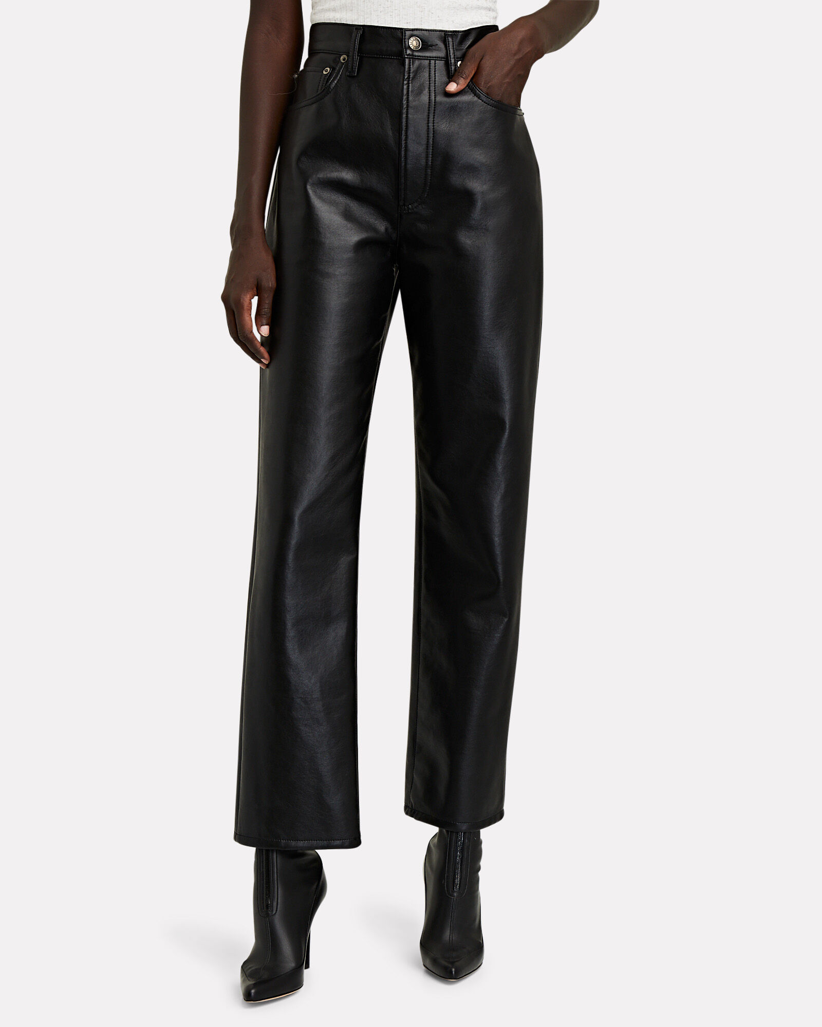 Fitted 90s Recycled Leather Pants, BLACK, hi-res