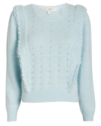 Jasmine Ruffled Eyelet Sweater, LIGHT BLUE, hi-res