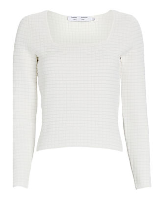 Square Neck Quilted Knit Top, WHITE, hi-res