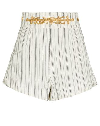 Striped Cotton-Linen Shorts, WHITE, hi-res