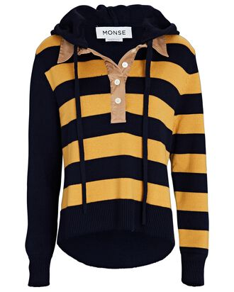 Striped Rugby Hooded Sweater, YELLOW, hi-res