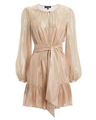 Margot Metallic Striped Georgette Dress, METALLIC/BLUSH, hi-res