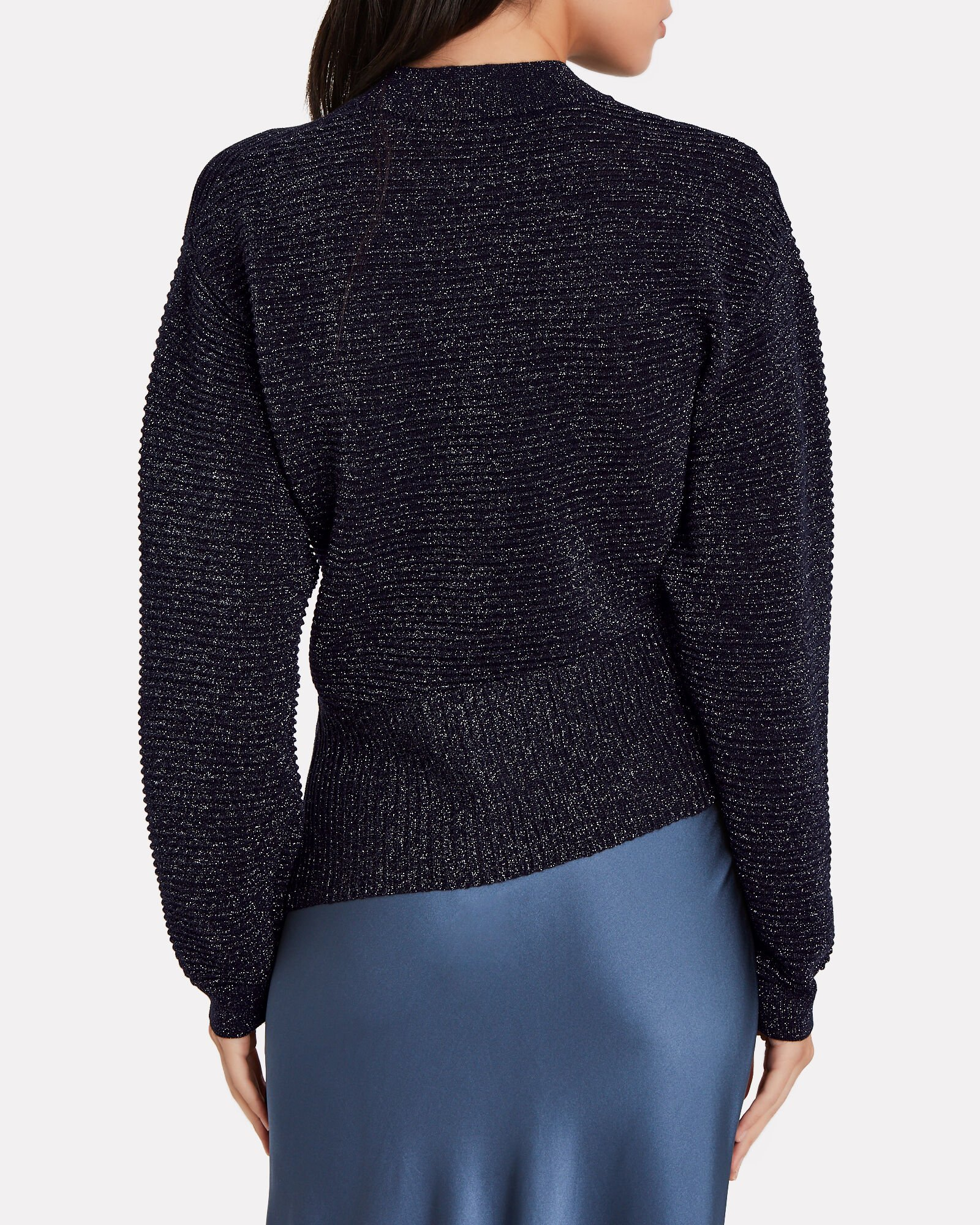 Twisted Metallic Ribbed Sweater, NAVY, hi-res