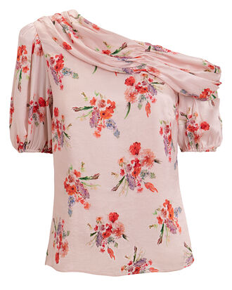 Betty Asymmetrical Top, BLUSH/FLORAL, hi-res