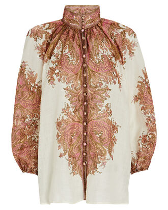 Brighton Paisley Blouse, IVORY/BROWN, hi-res