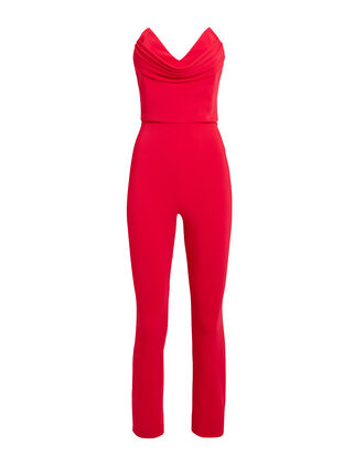 Strapless Corset Jumpsuit, RED, hi-res