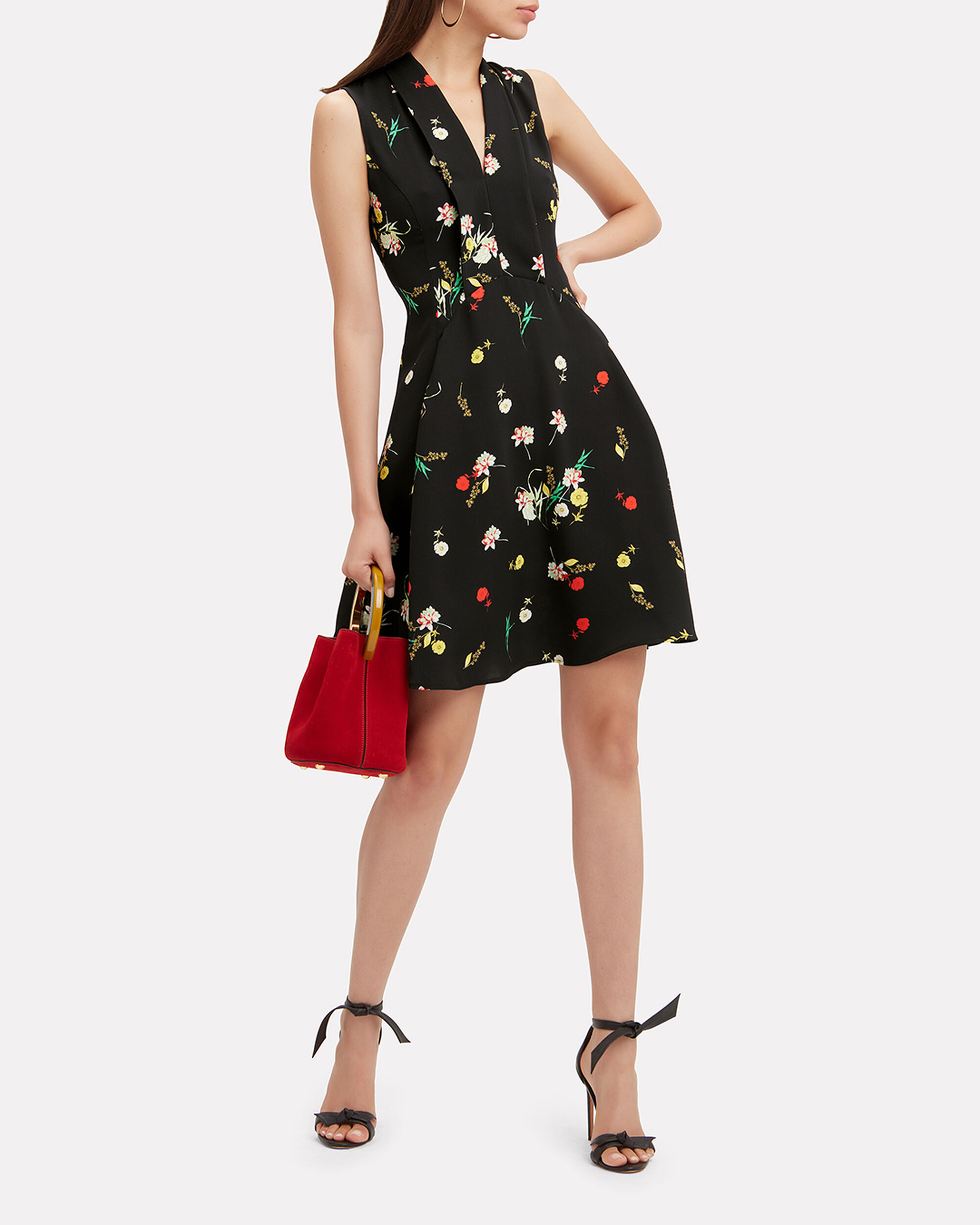 Floral Mini Dress, BLACK, hi-res