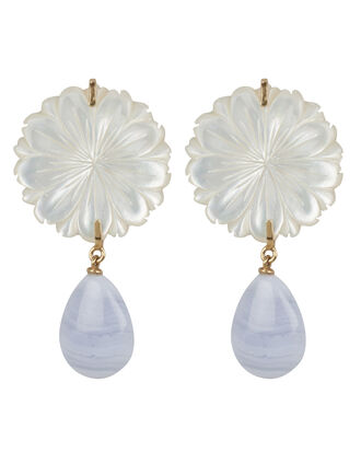 Wild Marquis Agate Earrings, GOLD/MOTHER OF PEARL/BLUE AGATE, hi-res