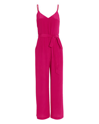 Jaelyn Silk Jumpsuit, FUSCHIA, hi-res