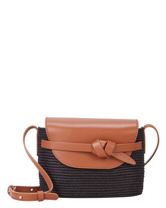 Leather and Straw Crossbody, BROWN/BLACK, hi-res