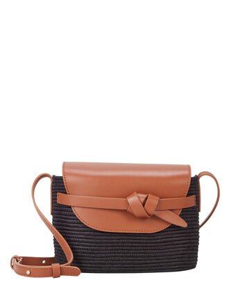 Black and Camel Straw Crossbody, CAMEL/BLACK, hi-res