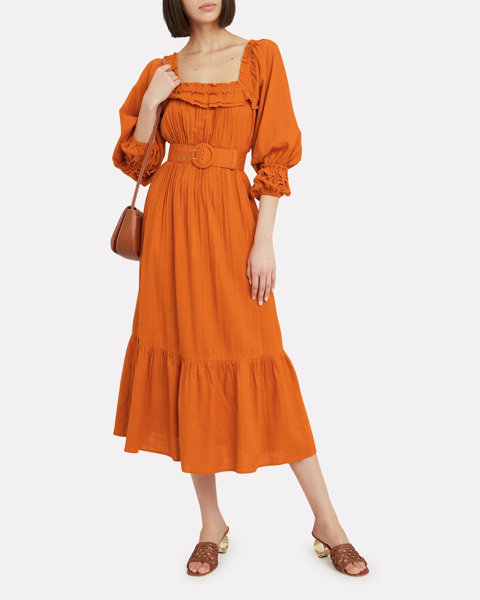 Pleated Prairie Dress, ORANGE, hi-res