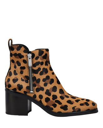 Alexa Leopard Calf Hair Zip Booties, BROWN/LEOPARD, hi-res