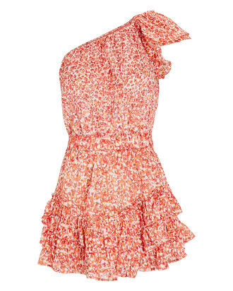 Kaia Ruffled One-Shoulder Dress, RED/ORANGE, hi-res