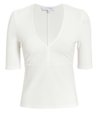 Elyse Deep V Knit Top, WHITE, hi-res