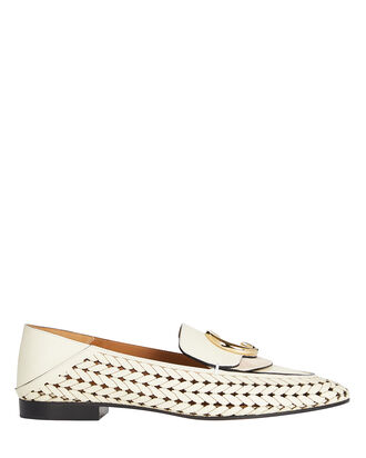 Logo Laser-Cut Loafers, IVORY, hi-res