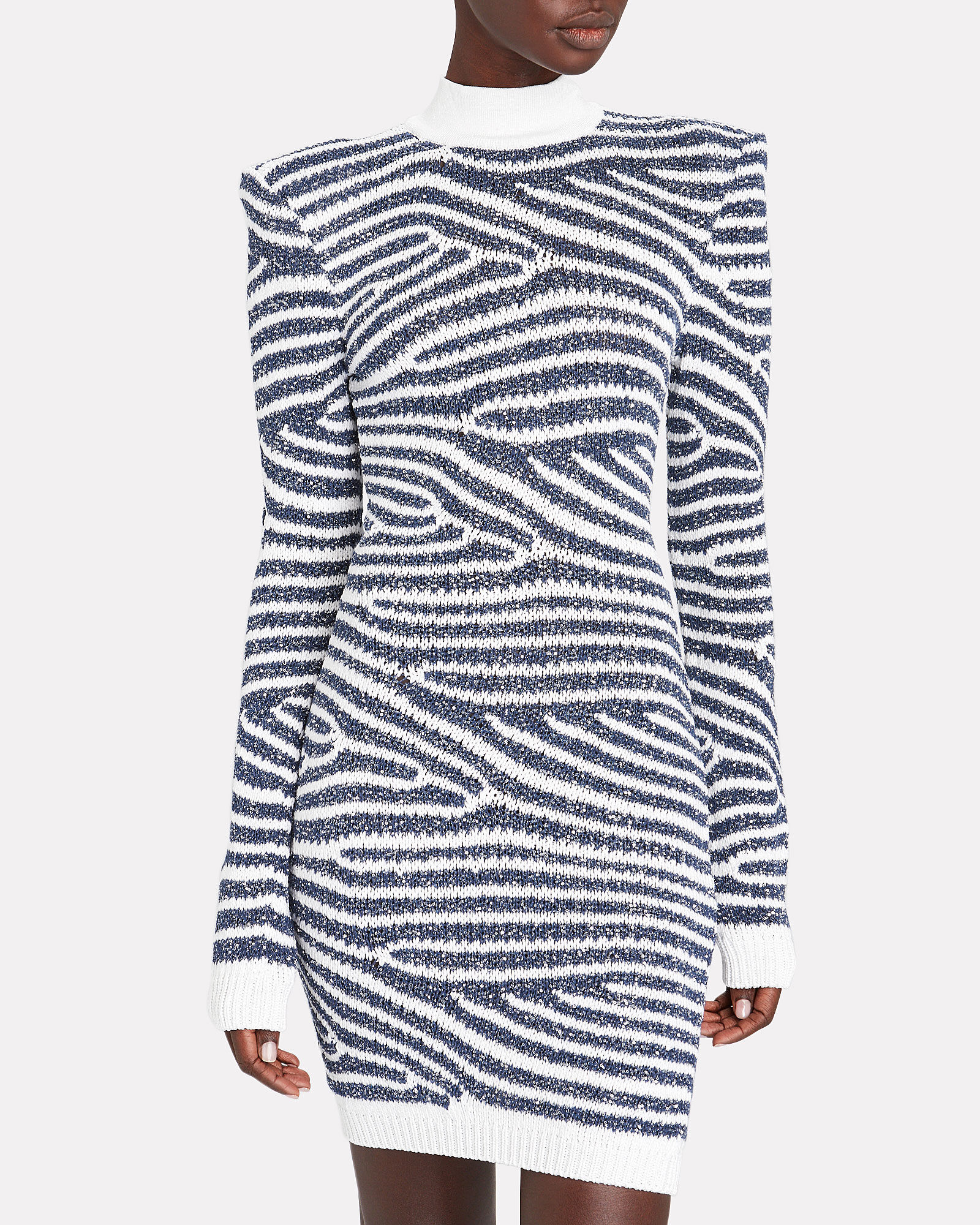 Sequined Striped Sweater Dress, BLUE-DRK, hi-res