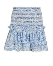 Triny Smocked Mini Skirt, PALE BLUE, hi-res
