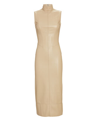 Farrah Sleeveless Vegan Leather Dress, BEIGE, hi-res