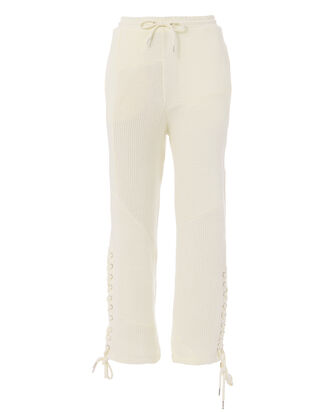 Lace-Patched Boyfriend Pants, IVORY, hi-res