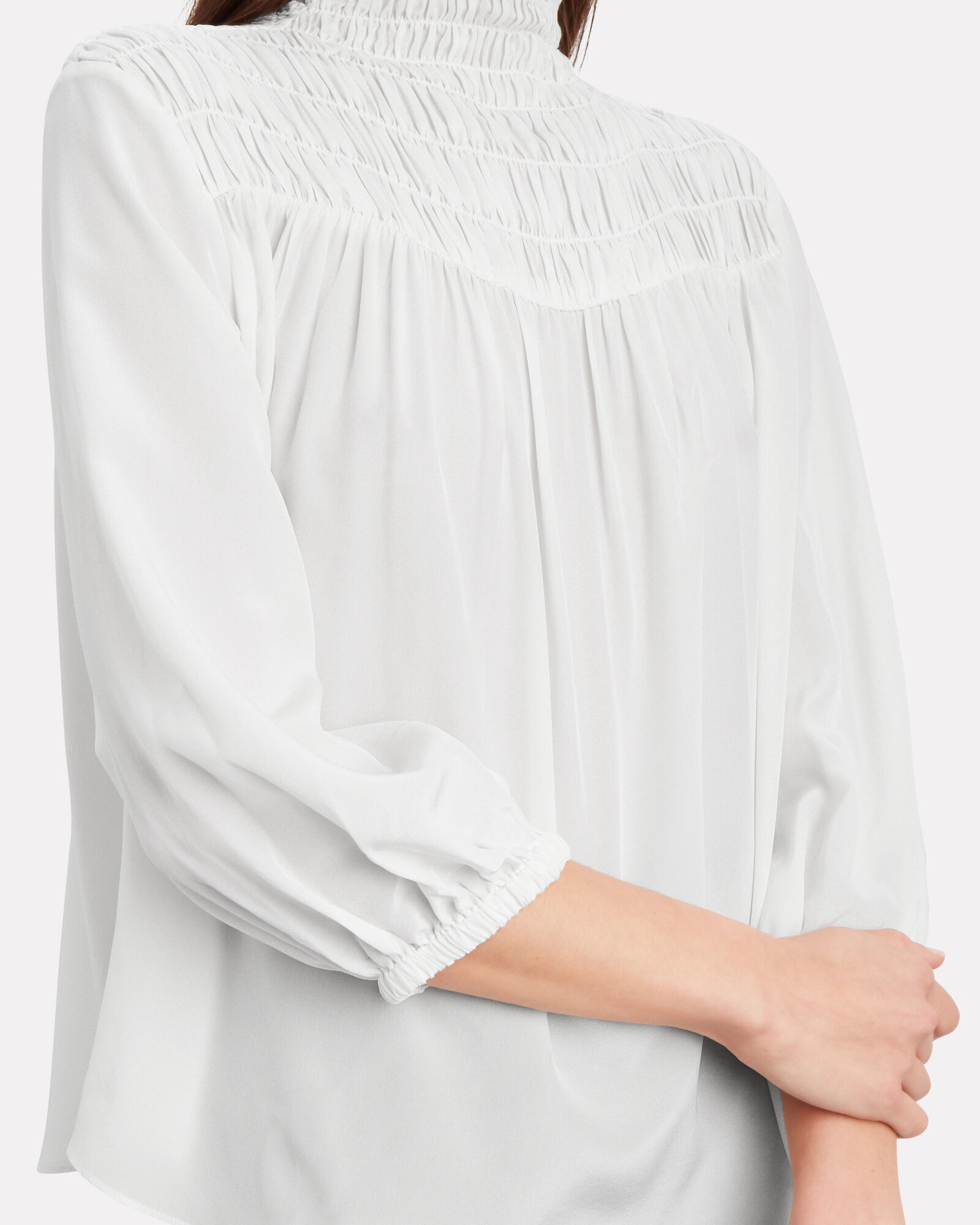 Silk Smocked High-Neck Blouse, OFF WHITE, hi-res