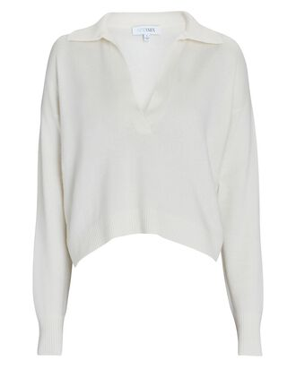 Hillary Cashmere Polo Sweater, IVORY, hi-res