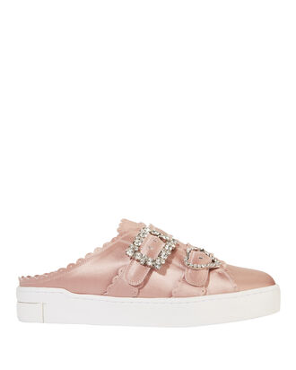 Crystal Buckle Pink Satin Slide Sneakers, PINK, hi-res