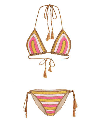 Striped Knit Crochet Bikini Set, PINK/YELLOW, hi-res