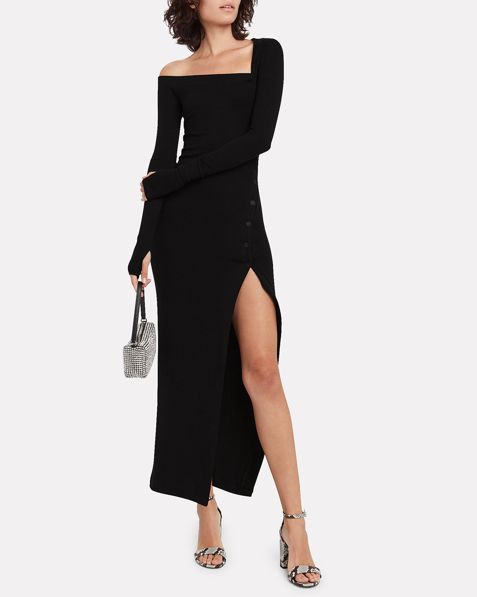 Ribbed Asymmetric Jersey Dress, BLACK, hi-res