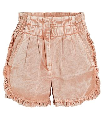Idun Ruffled Denim Shorts, ROSE ACID WASH, hi-res