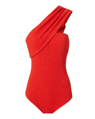 Hewes One Shoulder Bodysuit, RED, hi-res