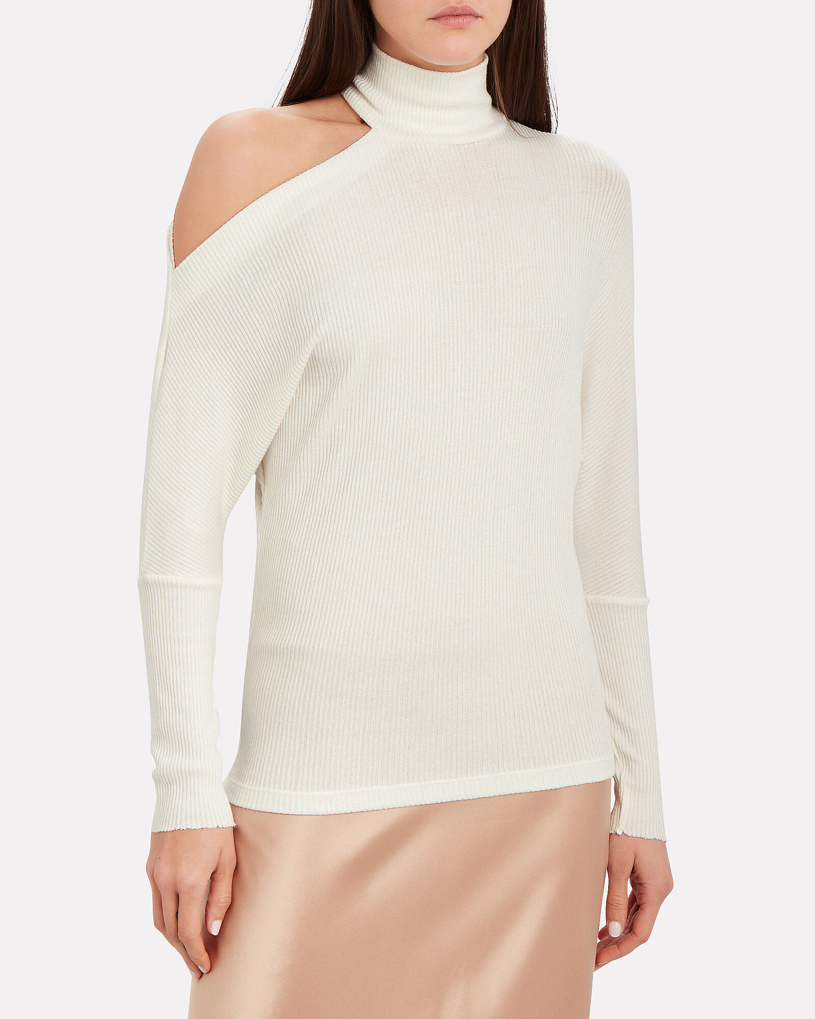 Hearther Cut-Out Ribbed Top, WHITE, hi-res