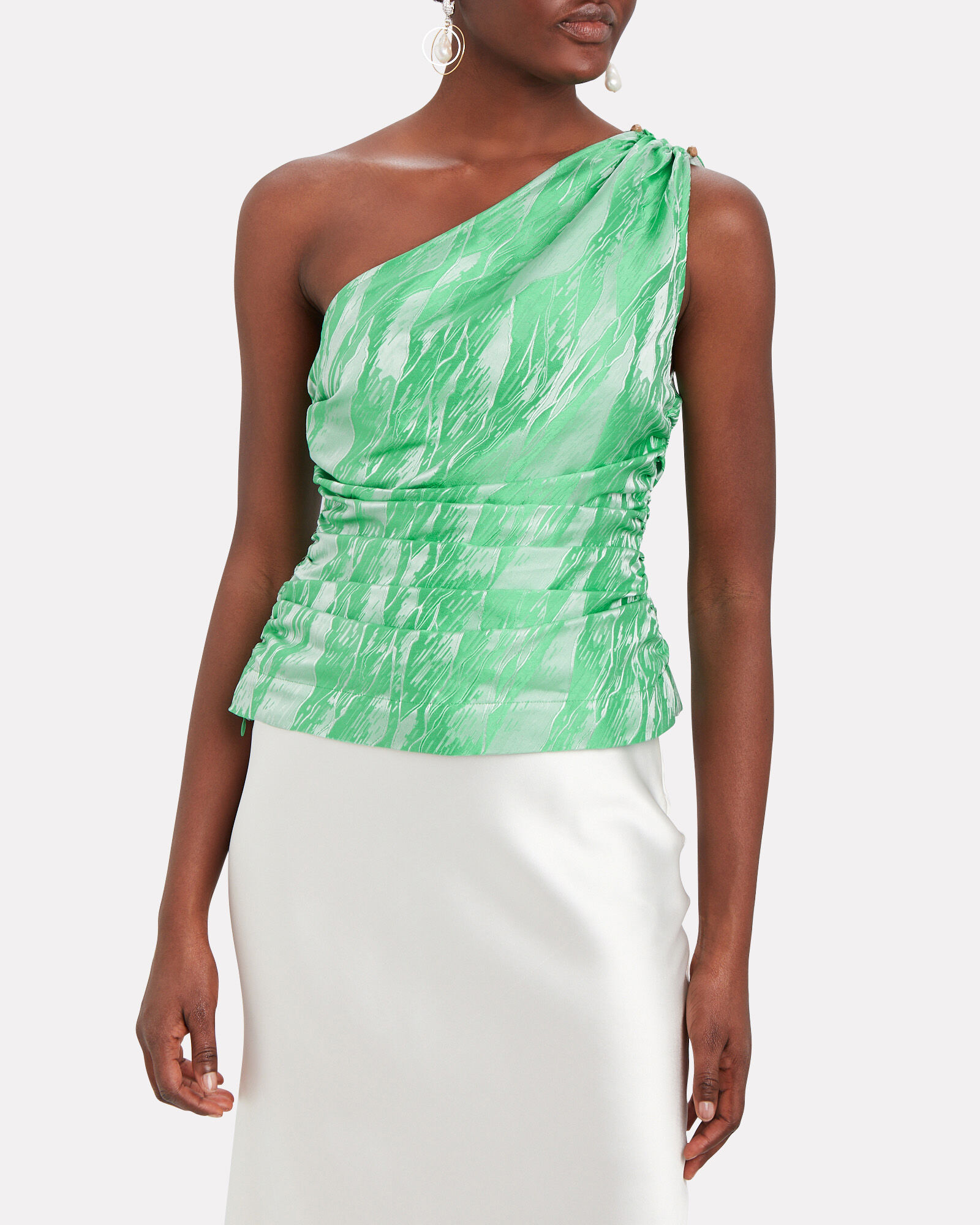 One-Shoulder Jacquard Top, PALE BLUE/SEAFOAM, hi-res