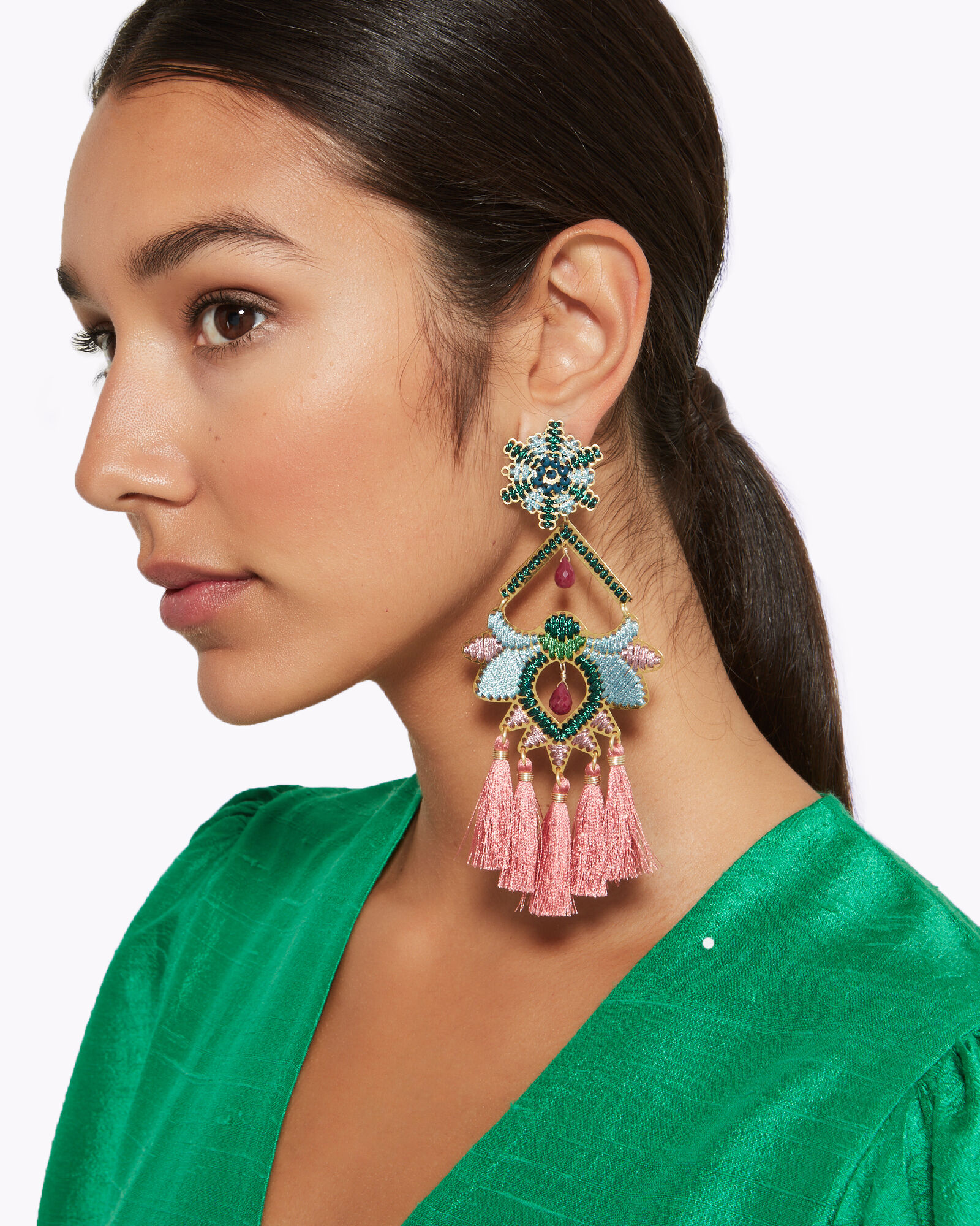 Rose Paramo Flower Earrings, BLUE-LT, hi-res
