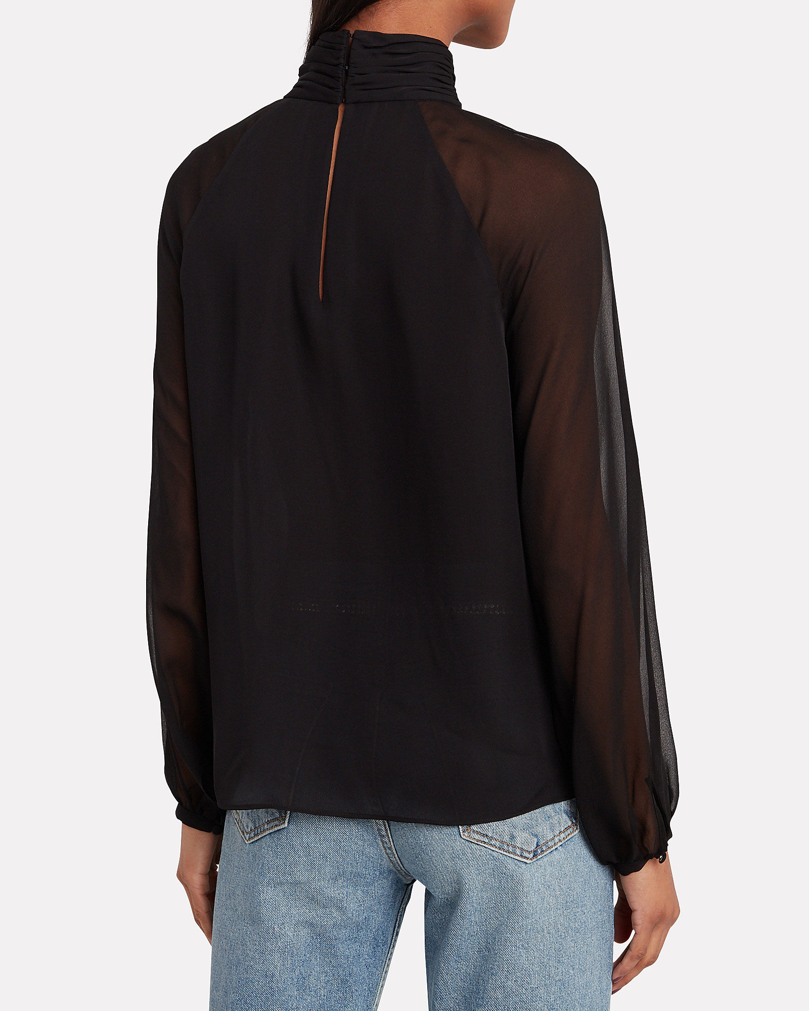 Milly High Neck Silk Blouse, BLACK, hi-res