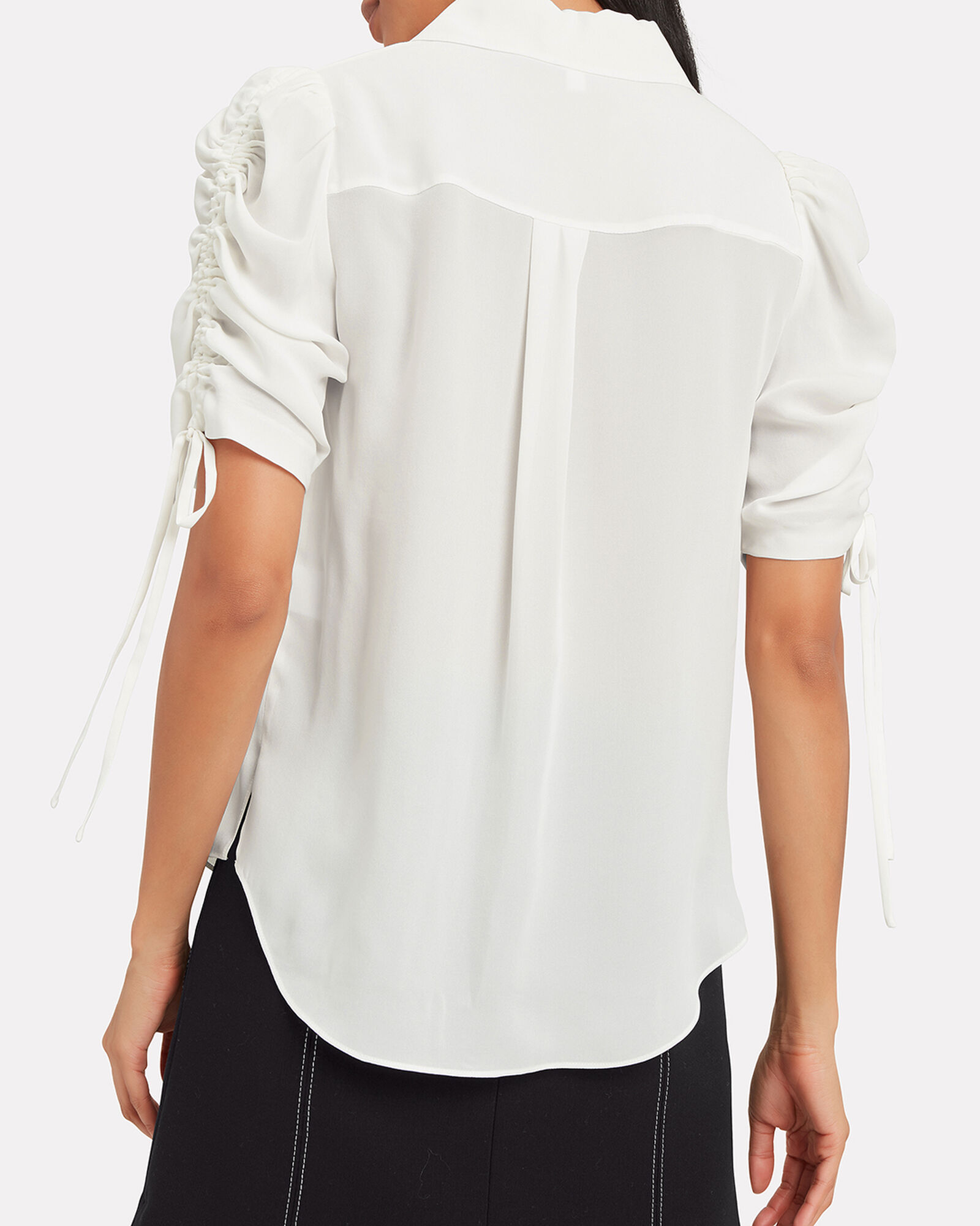Carmine Silk Ruched Sleeve Blouse, IVORY, hi-res